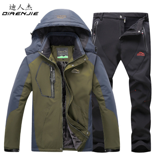 DIRENJIE Homens Inverno À Prova D  Água Manter Lã quente ternos jaqueta de  caminhadas Ao Ar Livre Viagem de acampamento de Esqui Snowboard Jaqueta +  calça ... 1f74a632d5708