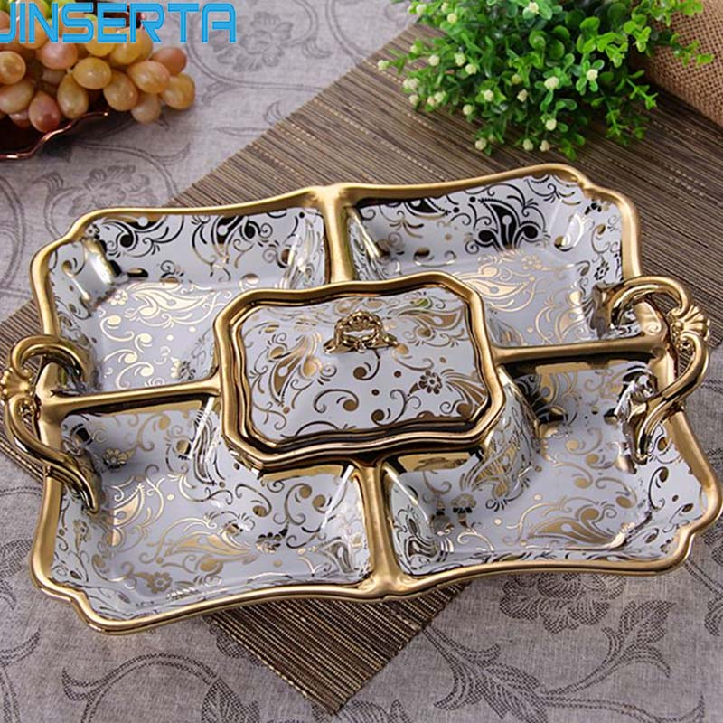 Us 45 99 20 Off Jinserta Ceramic Dinner Plate Dish Nut Dried Fruit Hotel Living Room With Lid Candy Tray Decorative Household Accessories In