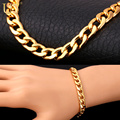 U7 Bracelet Men Jewelry Wholesale Trendy Gold Plated 22 CM 8 MM Thick Cuban Link Chain Bracelets H385