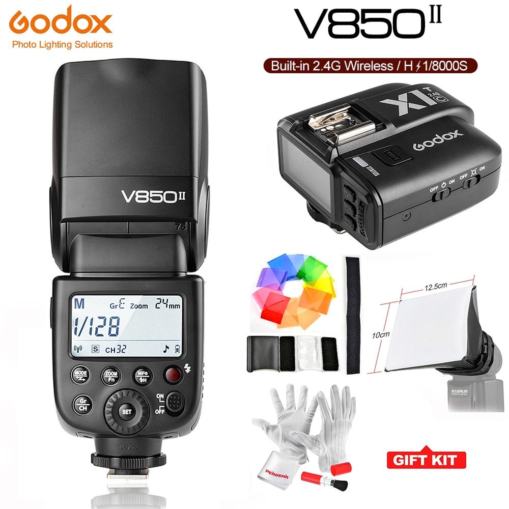 Godox Ving V850II GN60 2.4G 1/8000s HSS Camera Flash Speedlight 1.5s Recycle Time with 2000mAh Li-ion Battery or X1T-C for Canon godox v860iic v860iin v860iis x1t c x1t n x1t s hss 1 8000s gn60 ttl flash speedlite 2 4g transmission godox softbox filter