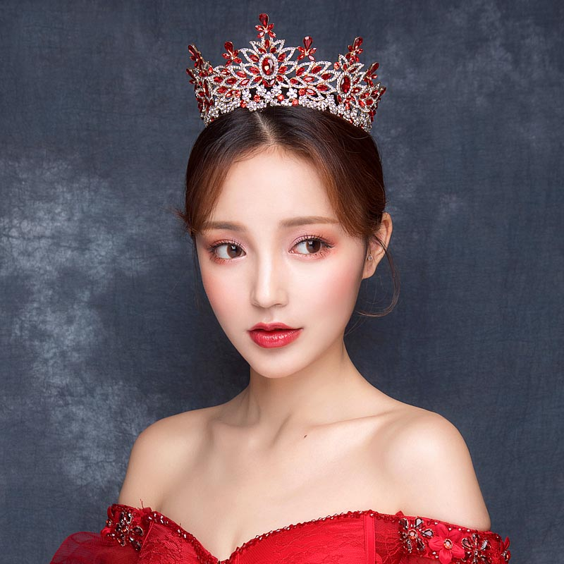 Luxury Red Stone Big Crown Tiaras Korean Style Princess Wedding Hair Jewelry For Bridal 2018 New Arrival Dress Accessory XL8134 маленькая сумочка korean style 2015 crown 0155