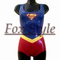 latex leotard super women rubber jumpsuit