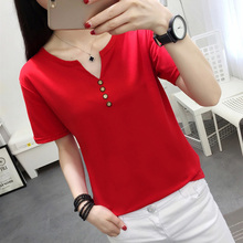 2019 Summer New Arrival Solid Color V-Neck Minimalism Casual All Matched Short Sleeves Women T-shirt Plus Size 5XL Free Shipping casual scoop neck solid color short sleeves t shirt for women