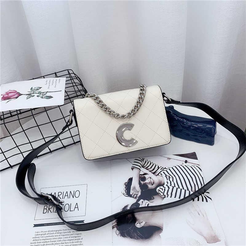 Marca de moda Bolsa Mulheres Topo PU Letra C Saco de Luxo Saco de Ombro de Couro Sacos Crossbody Bolsa Estilo Coreano bolso mujer B042