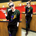 2016 summer and autumn casual clothes female 2 piece set peacock trousers with sequins women's tracksuits Retro suits female