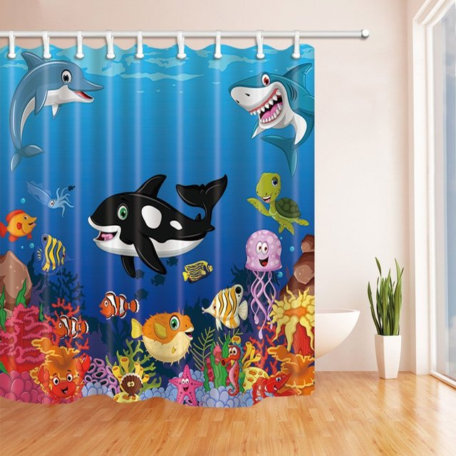 Kids Love Sea Animals Shower Curtains, Cartoon Whale with Sea Life ...