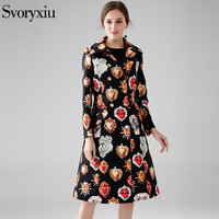 SVORYXIU 2017 Winter Women S Fashion Long Coat High Quality Long Sleeves Jacquard Playing Cards Printed