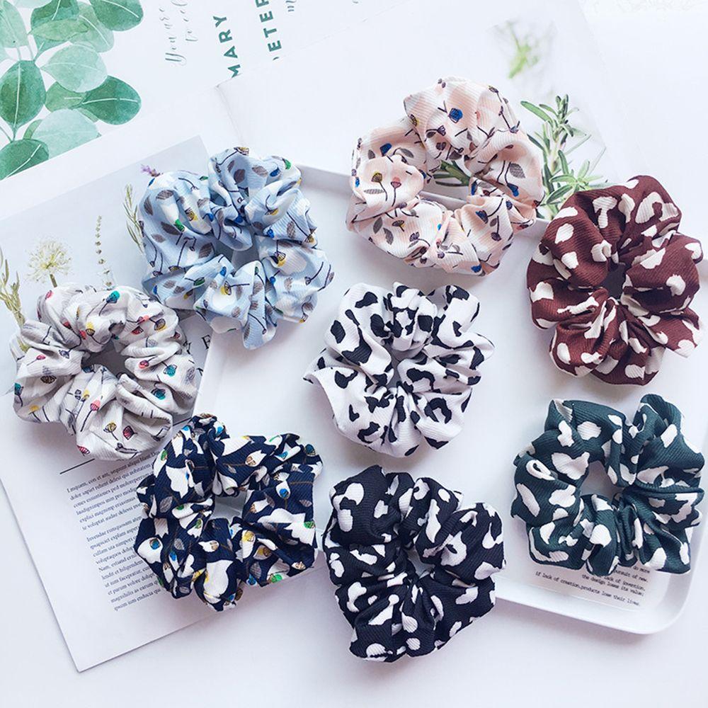 Lovely Women Dandelion Flower Elastic Scrunchie Hairband Ponytail Holder Girls Leopard Hair Rope Hair Accessories Free Shipping