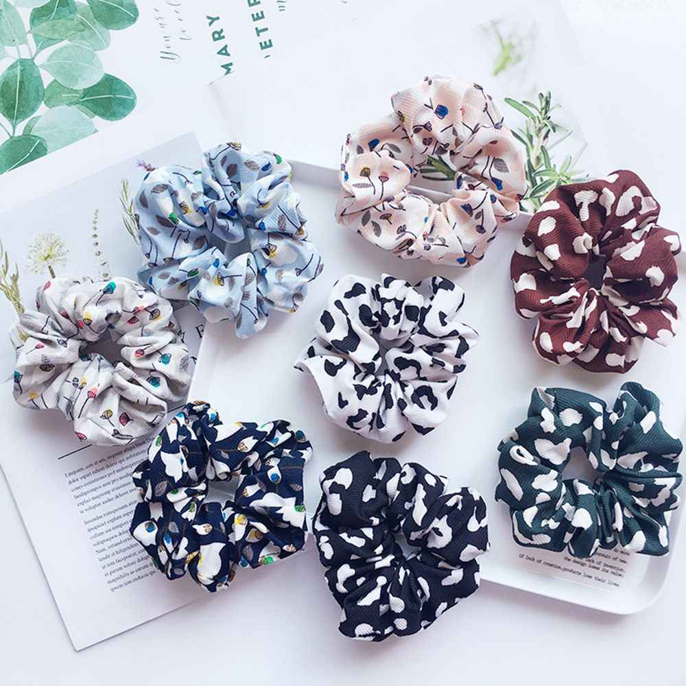 Lovely Women Dandelion Flower Elastic Scrunchie Hairband Ponytail Holder Girls Leopard Hair Rope Hair Accessories free shipping