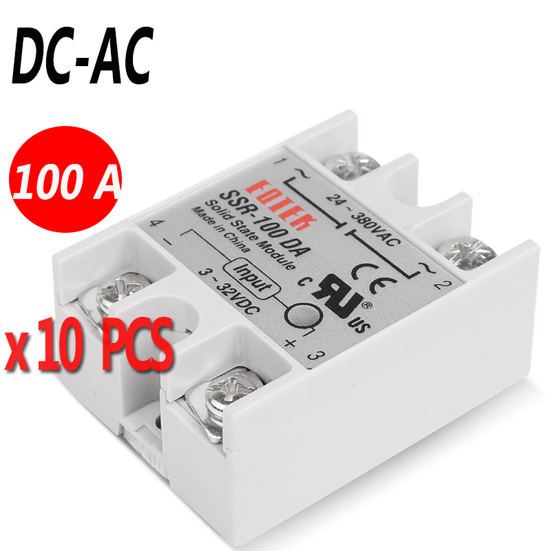 10 PCS 100A DC AC Industrial Solid State Relay 4 32V DC Input and 24 380VAC
