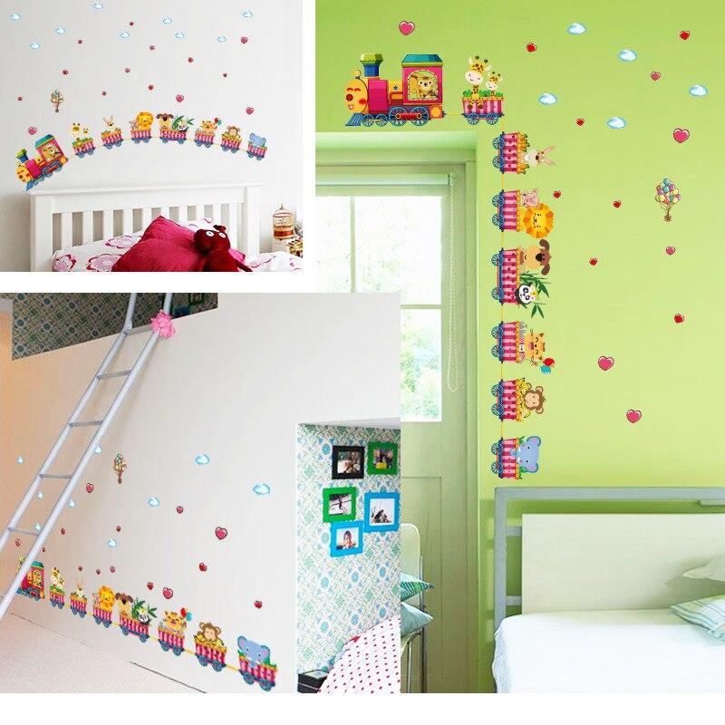 aliexpress.com : acquista safari animali treno wall stickers ... - Arredamento Per Bambini