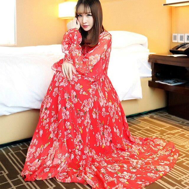 bd16d965383 High Quality 2018 Runway Maxi Dresses Long Sleeve Women Loose Floral Print  Plus Size Celebrity Wedding Guest Beach Sundress