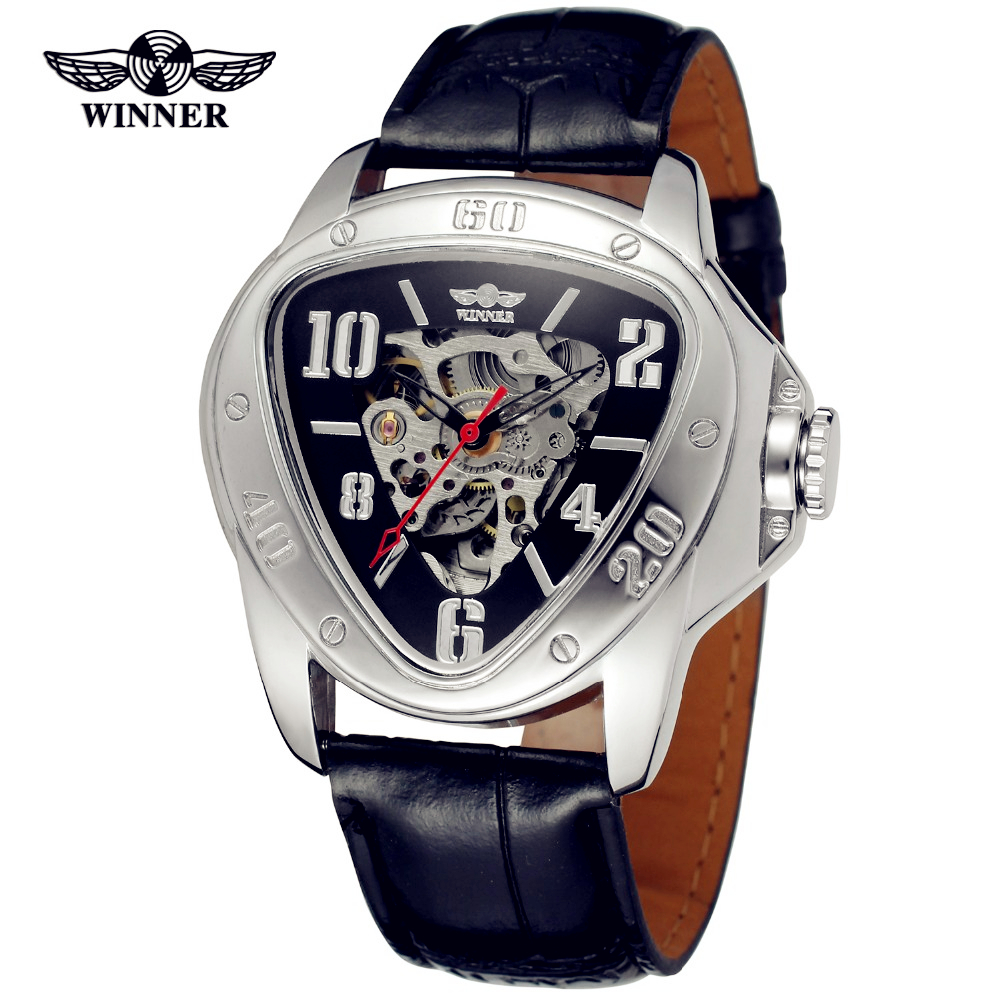 WINNER Men Luxury Brand Triangle Skeleton Leather Strap Casual Watch Automatic Mechanical Wristwatches Gift Box Relogio Releges fashion winner men luxury brand business skeleton leather strap watch automatic mechanical wristwatches gift box relogio releges