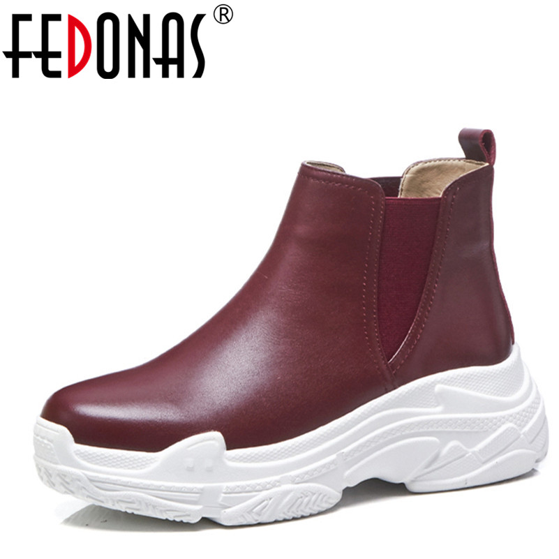 FEDONAS 1New Women Ankle Boots Autumn Winter Warm Genuine Leather Platforms Flats Shoes Woman Round Toe Casual Quality Sneakers asumer white spring autumn women shoes round toe ladies genuine leather flats shoes casual sneakers single shoes