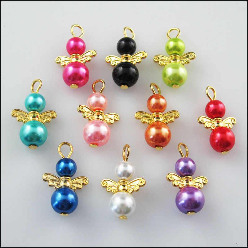 אופנה 10 Pcs זהב צבע כנפי מעורב ריקודי מלאך קסמי תליוני 14x22mm