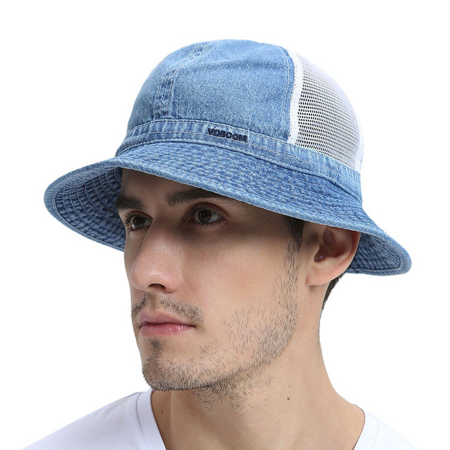 8a3d2c00a82a1 Summer Sky Blue Panama Bucket Hat Men Boy Wide Brim UV Protection Cap  Fisherman Hats Camouflage