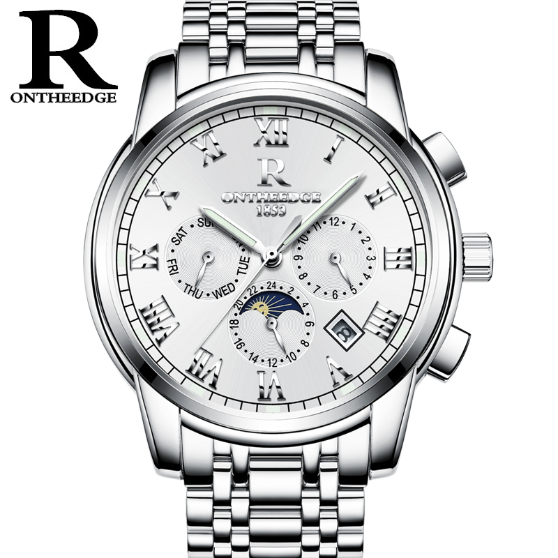 RONTHEEDGE Fashion Mechanical Watches Men Automatic Moon Phase Steel Wristwatches Auto Date Chronograph with gift box