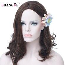 SHANGKE Волосы Средней Парик Коричневый Волнистые Синтетические Парики Для Белых BlackWomen Термостойкие Синтетические Волосы Высокая Температура Волокна