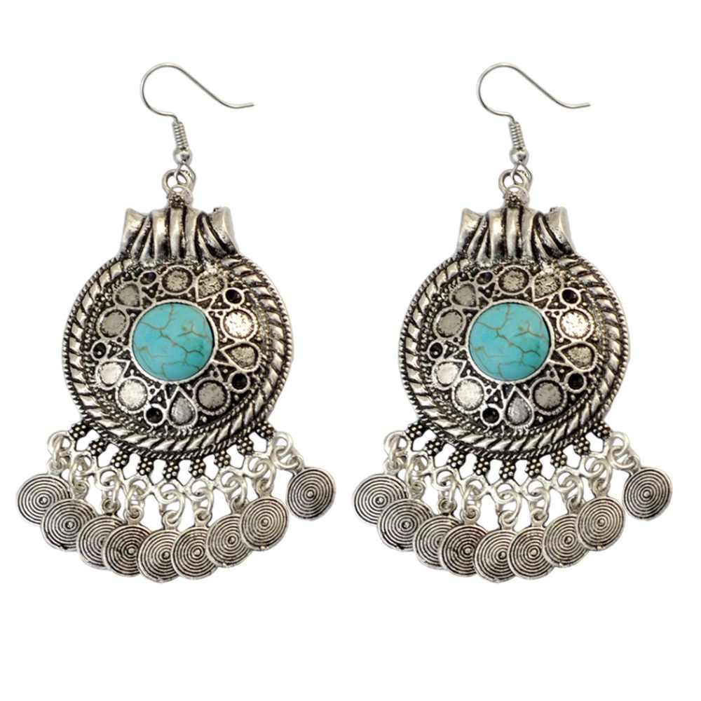 9e3e927a8a Bohemian Ethnic Drop Dangle Earrings Gypsy Vintage Silver Gold Blue Stone  Coin Flower Tassel Earrings For Women Indian Jewelry