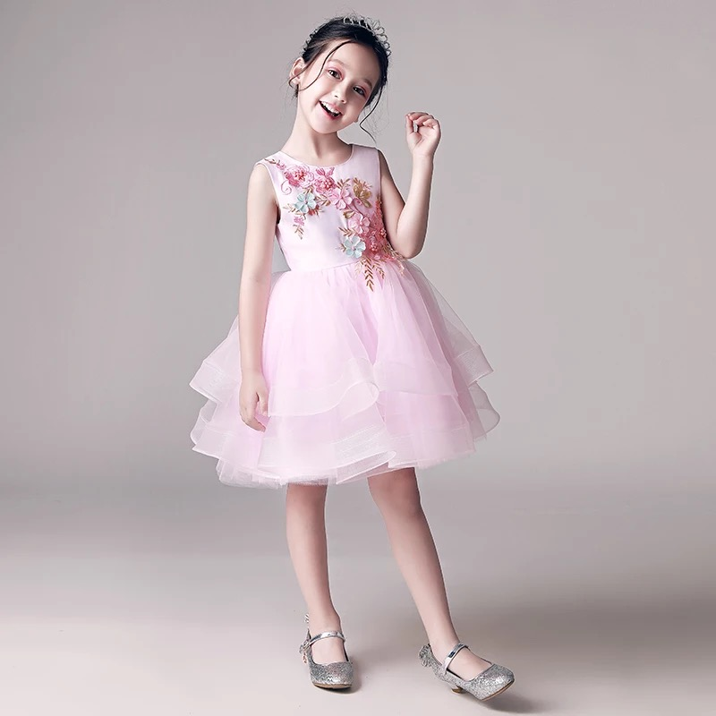 New Elegant  Kids Girls Embroidery Flowers Dress Birthday Party Dresses Children Fancy Princess Ball Gown Wedding Dress Clothes