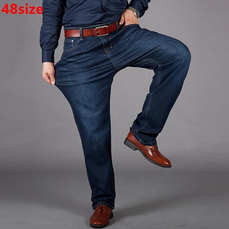 Summer and autumn large size   jeans   big size man plus fertilizer XL stretch   jeans   plus size high waist   jeans   male straight