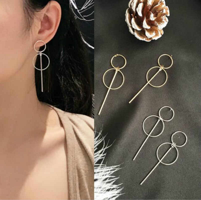 Korean version of the simple long tassel pendant earrings size circle earrings female jewelry accessories wholesale