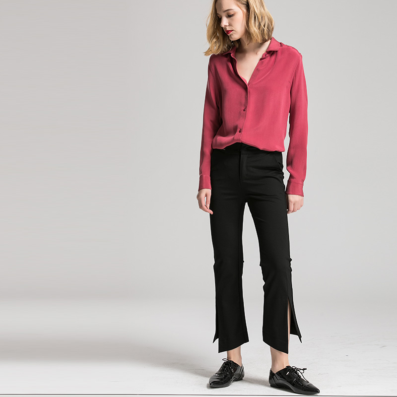 Kadın Giyim'ten Bluzlar ve Gömlekler'de Kadın Ipek Bluz 30mm 100% GERÇEK IPEK KREP Bluzlar Düğmesi Ağır Ipek OFIS Bayan Bluz 2019 BEYAZ'da  Grup 2