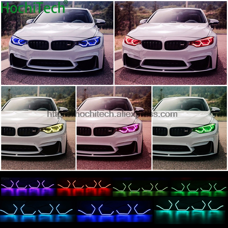 WIFI RGB Multi-color Concept M4 Iconic Style LED Angel Eye Kit for BMW 4 series F32 435i 428i 420d 420i 440i 430i 2013-18 2pcs new style m performance side skirt sill decal stripe vinyl sticker for bmw 4 series f32 f33 420i 428i 435i