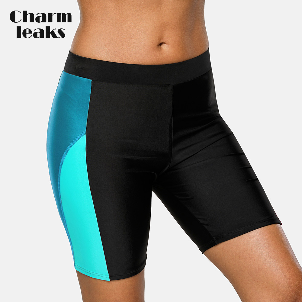 Charmleaks Women Sports Swimming Trunks Ladies Bikini Bottom Boy Shorts Swimwear Briefs Slim Patchwork Skinny Swim Shorts
