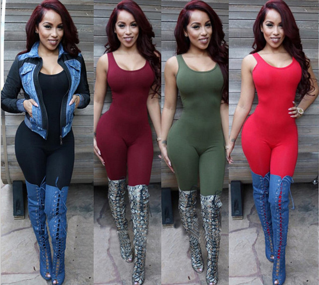 91b22ab9c05 Free Shipping Bodycon Sexy Club red black green Bodysuit Overalls Women  Tight Rompers Sleeveless Backless Full Length Jumpsuit