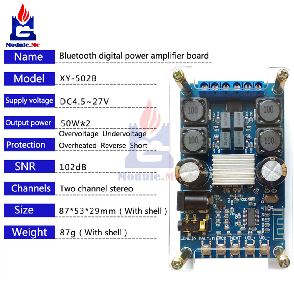 DC 4.7 -27 V Bluetooth Digital Amplifier Board Dual Channel 50W * 2 Bluetooth Digital Audio Amplifier Module With Case