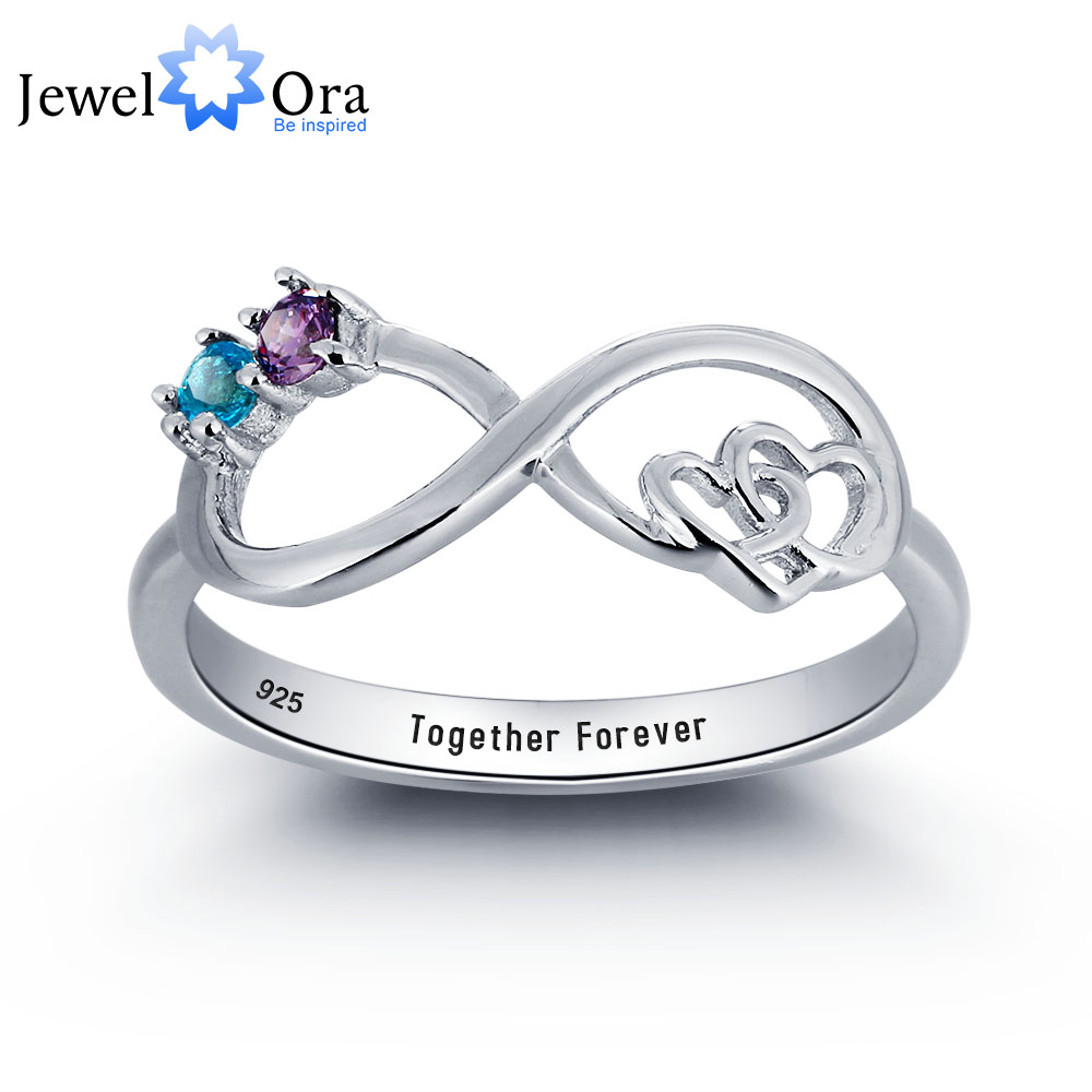 157f491e02 Personalized Infinite Love Promise Ring Couple Stone 925 Sterling Silver  Cubic Zirconia Ring Free Gift Box (JewelOra RI101783)
