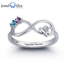 Персонализированные бесконечная любовь promise ring пара камень стерлингового серебра 925 кубического циркония кольцо бесплатная подарочная коробка (jewelora ri101783)