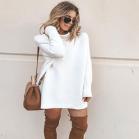 2018 autumn and winter festival street solid color wild casual fashion long sleeved round neck female middle length girl dress