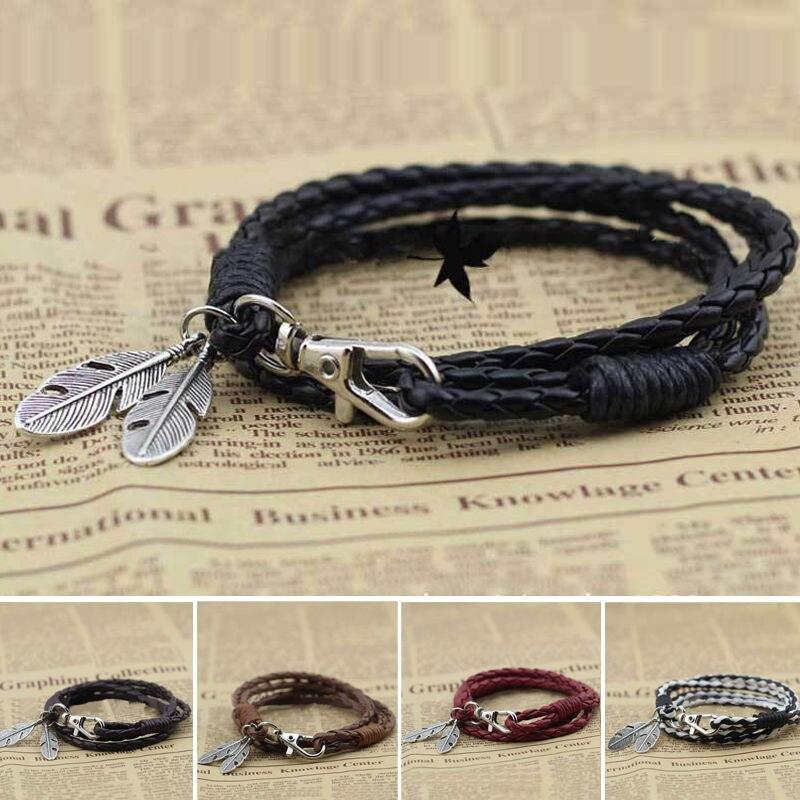 Hot New Fashion Men's Women's Unisex Leather Feather Pendants Wrap Braided Wristband Cuff Punk Bracelet Bangle Jewelry Gifts
