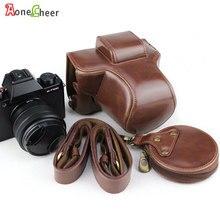 Funda de cuero de lujo para cámara Fujifilm X T100, Fuji XT100, bolsa de medio cuerpo de PU, Mini bolsa de almacenamiento con apertura de batería, correa para cámara