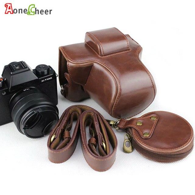 Luxus Leder Kamera Fall Abdeckung für Fujifilm X T100 Fuji XT100 PU Halb Körper Tasche Batterie Openning Mini Lagerung Tasche kamera Gurt