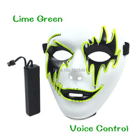 Newest Arrival Funny Carnival Decor Light Up Camouflage Mask Holiday Lighting Stylish EL Cable Tube Mask