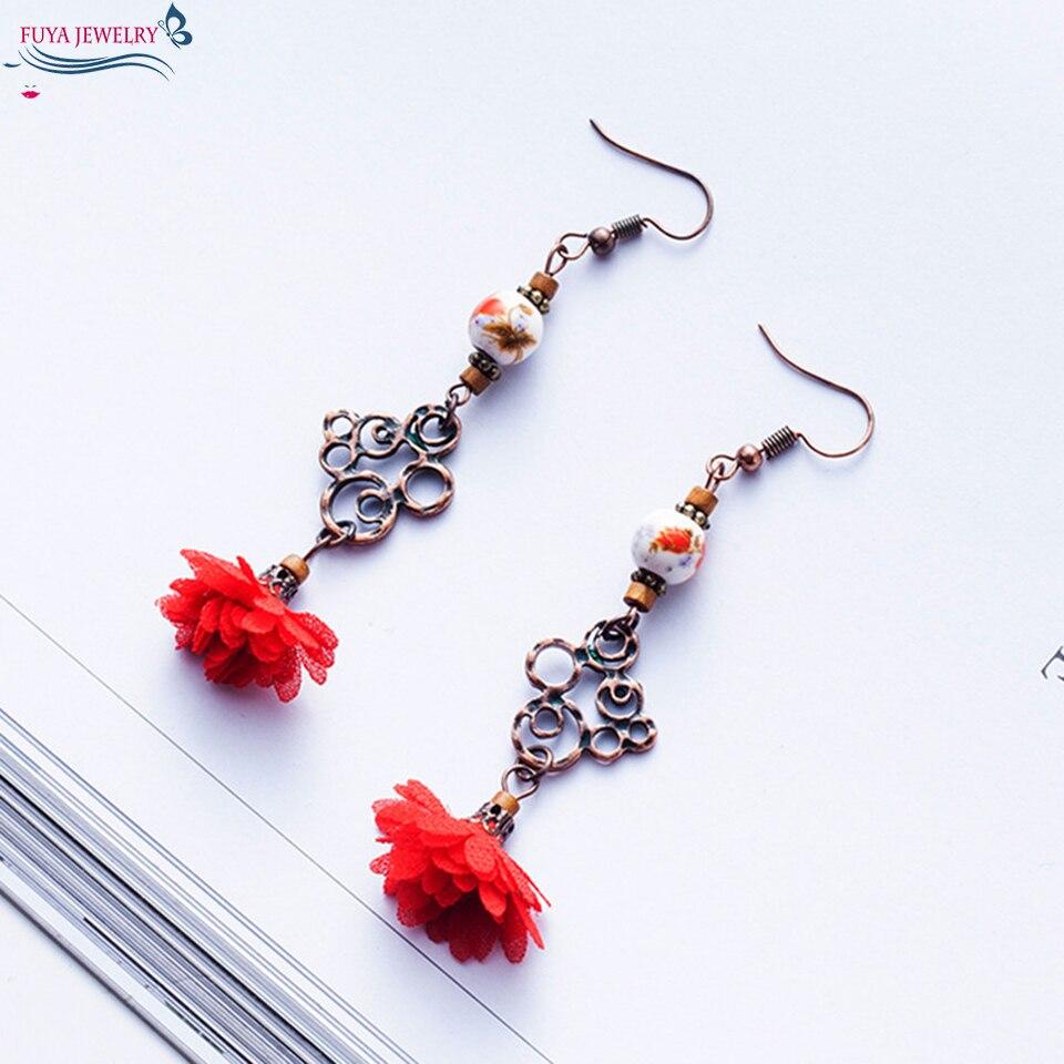 Flower tassel earrings for women Vintage handmade porcelain bead fringe earing New chinese wind ethnic earring jewelry wholesale