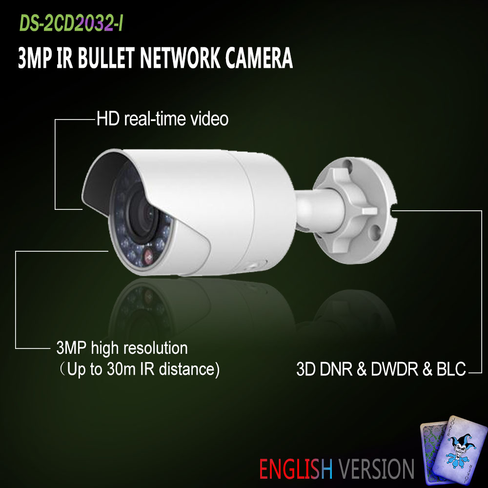 Hikvision In Stock DS-2CD2032-I English Oversea Version IP housing 3MP Bullet IR Camera POE security P2P Onvif H265 Mini White