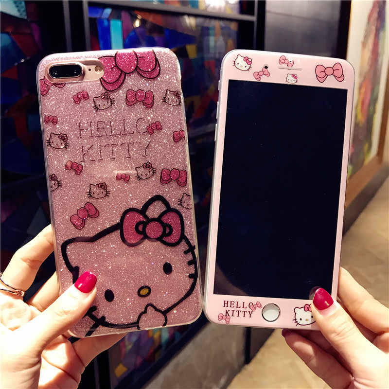 Para iPhone Caso Do iPhone 6 6 11 Pro Max S 8 7 Plus X Bonito Dos Desenhos Animados Olá Kitty Caso de Telefone para o iphone XS Max XR KT Bling Hard Cover