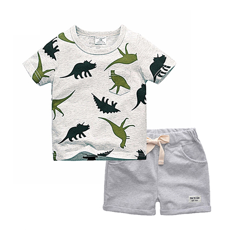 BINIDUCKLING Boys Sets 2018 Children Set Summer Boy Shorts Clothes Cartoon Dragon T-Shirt and Pants for Kids Baby Cotton Suit
