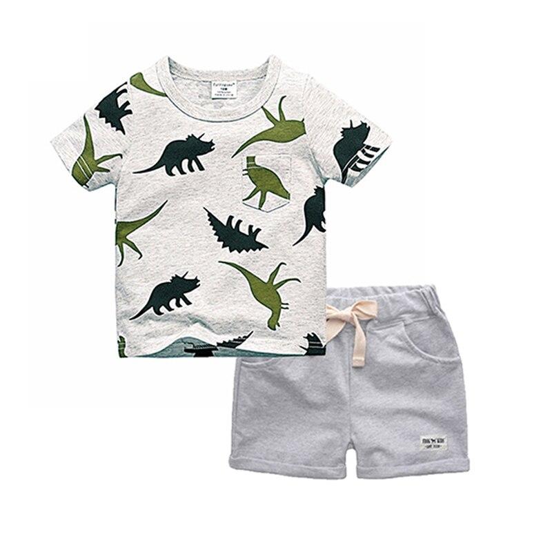 BINIDUCKLING Boys Sets 2018 Children Set Summer Boy Shorts Clothes Cartoon Dragon T-Shirt and Pants for Kids Baby Cotton Suit