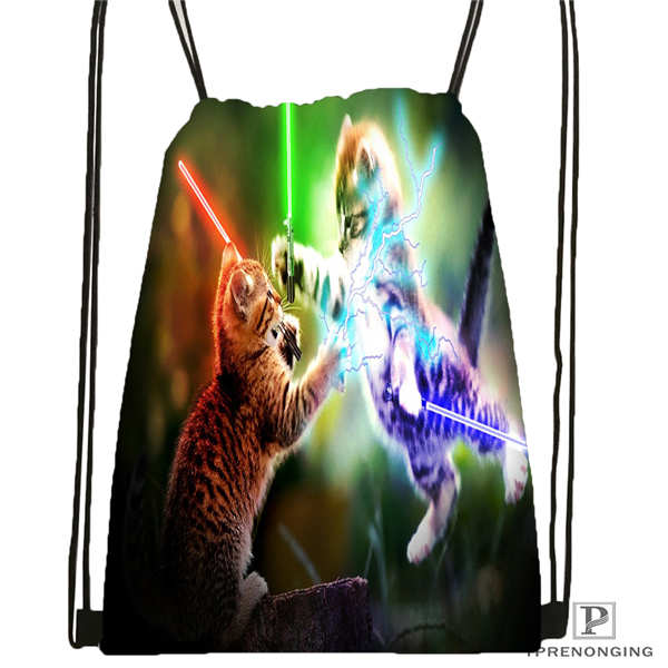 Custom spacecat 36 Drawstring Backpack Bag Cute Daypack Kids Satchel Black Back 31x40cm 180612 03 cat