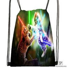 Custom spacecat  (36)  Drawstring Backpack Bag Cute Daypack Kids Satchel (Black Back) 31x40cm#180612-03-cat
