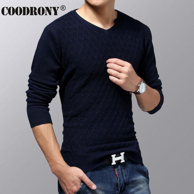 COODRONY Casual Camisola de Malha de Cashmere Homens Natal Blusas De Lã Grossa Quente Malhas de Decote Em V Slim Fit Homens Pullover Camisa 223