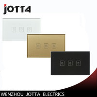 Wall Light Touch Sensor Switch 3Gang1Way Golden Glass Panel LED US AU Standard Touch Switches AC220V