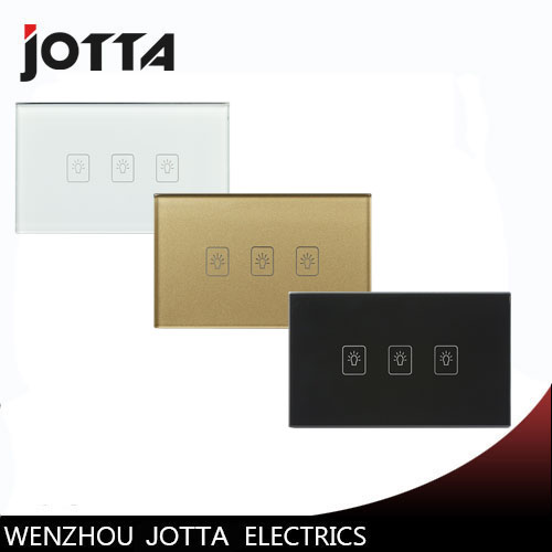 Wall Light Touch Sensor Switch 3Gang1Way Golden Glass Panel+LED US/AU Standard Touch Switches AC220V/110V Smart free shipping au us standard smart home glass touch light switches switches 3 gang 1 way
