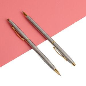 Image 5 - 20 sztuk/partia klasyczne wysokiej jakości spin pióra ze stali nierdzewnej pręt obrotowy kulkowy długopis metalowy biurowe długopisy pisanie 0.7mm
