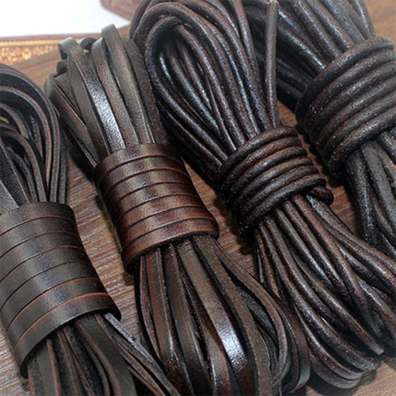 2 Meters Retro High Quality Genuine Leather Cord 1.5-10mm Round/Flat Strand Cow Leather Rope Fit Necklace Bracelets DIY Jewelry